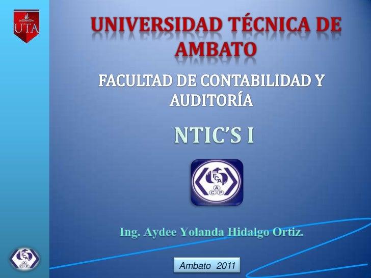 UNIVERSIDAD TÉCNICA DE       AMBATO       Ambato 2011