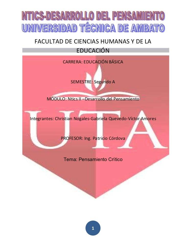 FACULTAD DE CIENCIAS HUMANAS Y DE LA               EDUCACIÓN               CARRERA: EDUCACIÓN BÁSICA                   SEM...