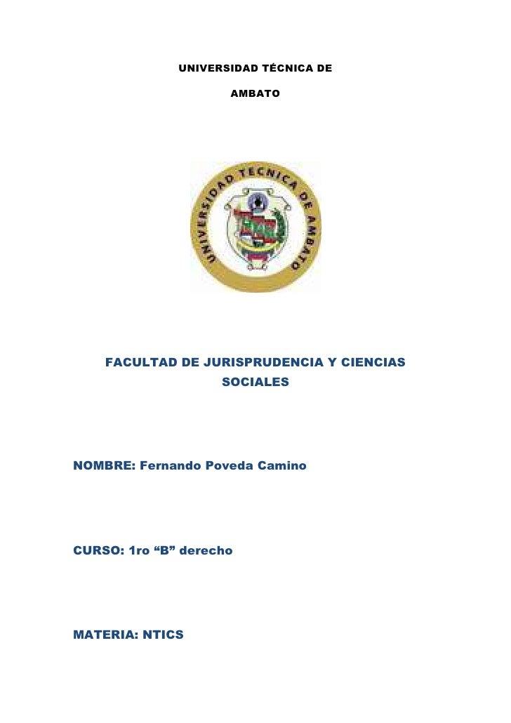 UNIVERSIDAD TÉCNICA DE                     AMBATO    FACULTAD DE JURISPRUDENCIA Y CIENCIAS                    SOCIALESNOMB...