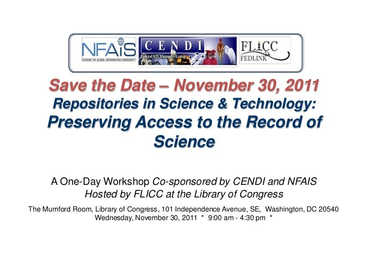 Science Repository as an NTIS Service to other Federal Agencies.