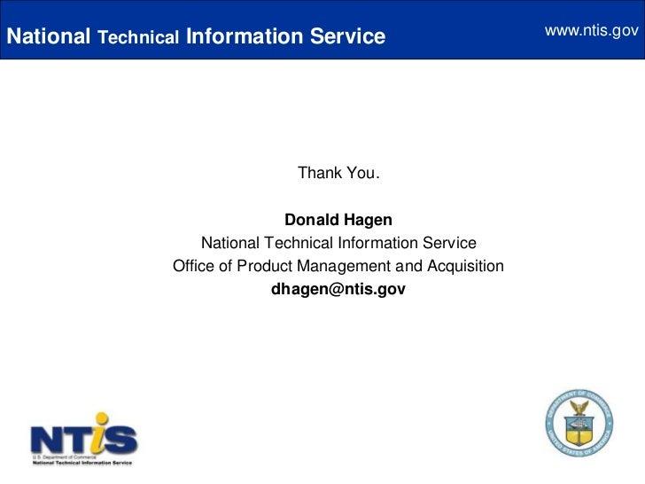 Based on NTIS ability to establish public/private partnerships