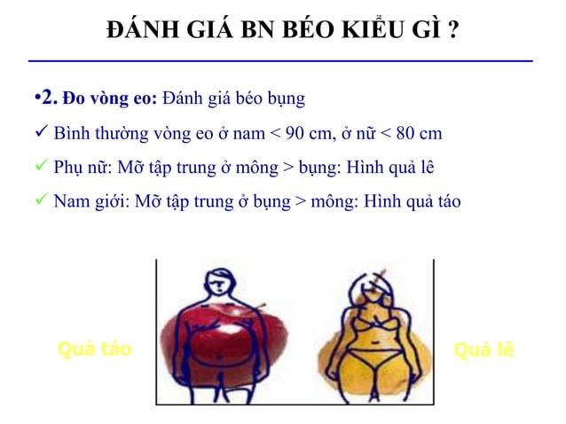 ĐÁNH GIÁ BN BÉO KIỂU GÌ ? •2. Đo vòng eo: Đánh giá béo bụng  Bình thường vòng eo ở nam < 90 cm, ở nữ < 80 cm  Phụ nữ: Mỡ...