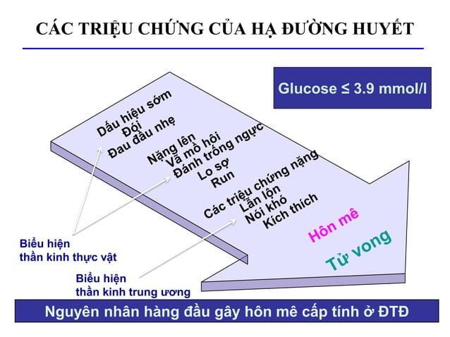 CÁC TRIỆU CHỨNG CỦA HẠ ĐƯỜNG HUYẾT Nguyên nhân hàng đầu gây hôn mê cấp tính ở ĐTĐ Glucose ≤ 3.9 mmol/l Biểu hiện thần kinh...