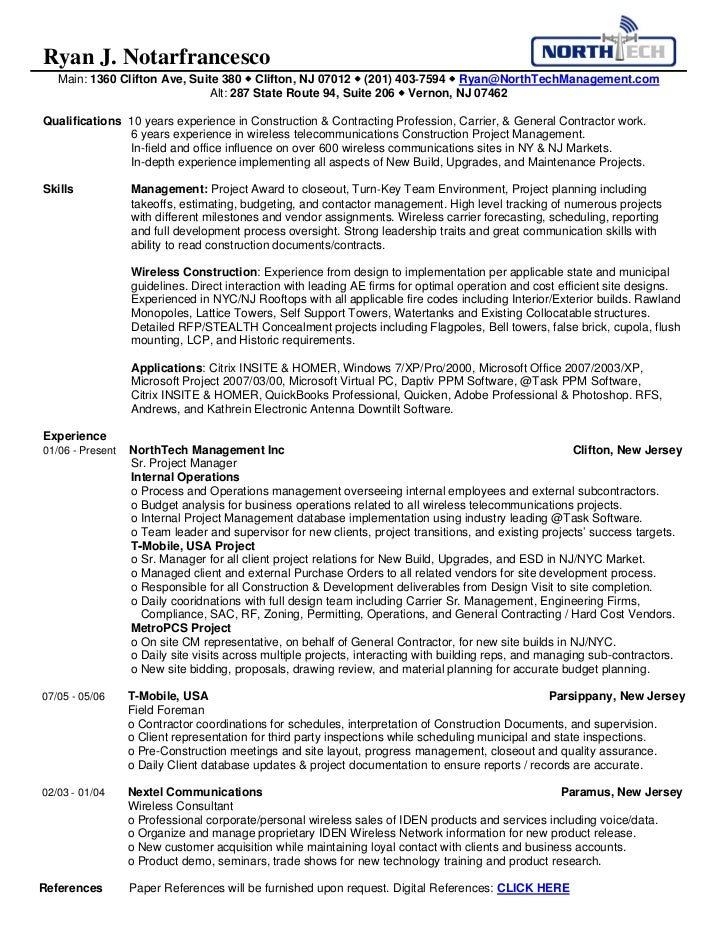 NorthTech Management Ryan\'s Resume