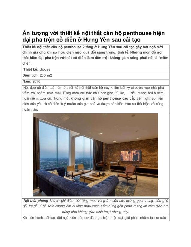 Ấn tượng với thiết kế nội thất căn hộ penthouse hiện đại pha trộn cổ điển ở Hưng Yên sau cải tạo Thiết kế nội thất căn hộ ...