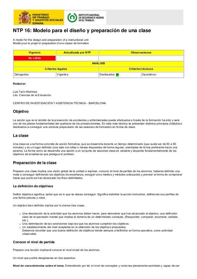 NTP 16: Modelo para el diseño y preparación de una claseA model for the design and preparation of a instructional unitModè...
