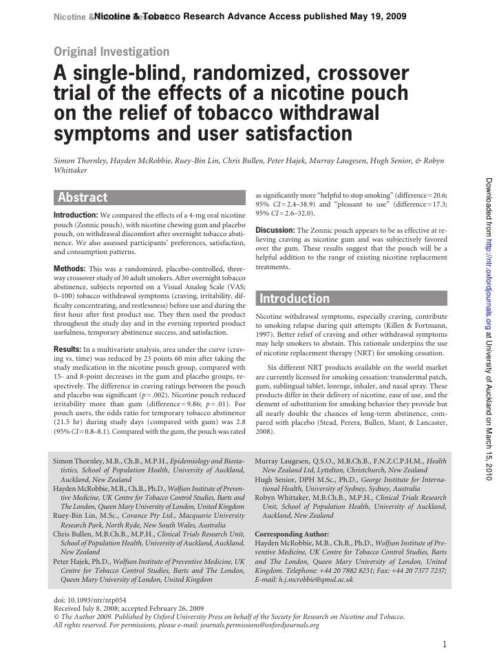 Nicotine &Nicotine Research           Tobacco & Tobacco Research Advance Access published May 19, 2009    Original Investi...