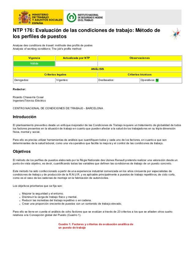 NTP 176: Evaluación de las condiciones de trabajo: Método delos perfiles de puestosAnalyse des conditions de travail: méth...