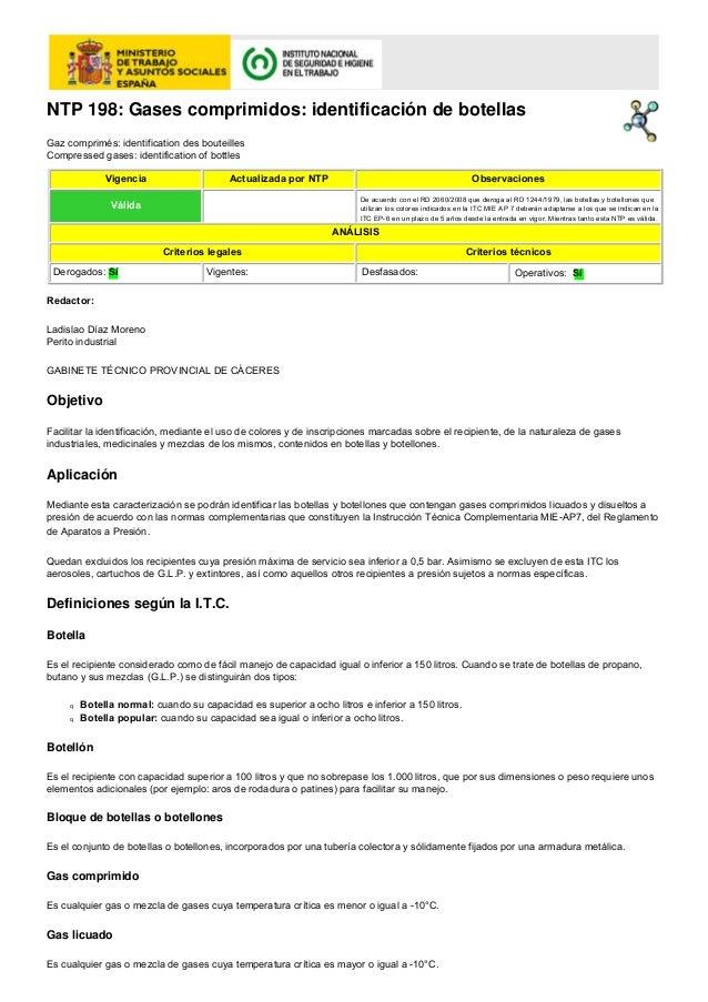 NTP 198: Gases comprimidos: identificación de botellasGaz comprimés: identification des bouteillesCompressed gases: identi...