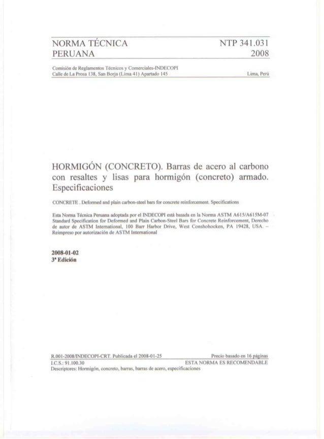 NORMA TÉCNICA NTP 341.031  PERUANA o 20087  ('omisión dv:  Reglamentos Técnicos y Comerciales-INDISCOPI (Talle de La Prosa...