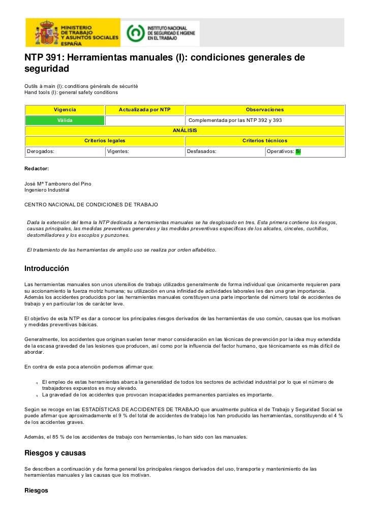 NTP 391: Herramientas manuales (I): condiciones generales deseguridadOutils à main (I): conditions générals de sécuritéHan...