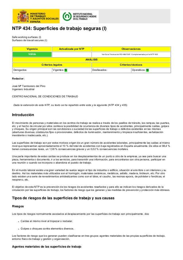 NTP 434: Superficies de trabajo seguras (I)Safe working surfaces (I)Surfaces de travail secures (I)              Vigencia ...