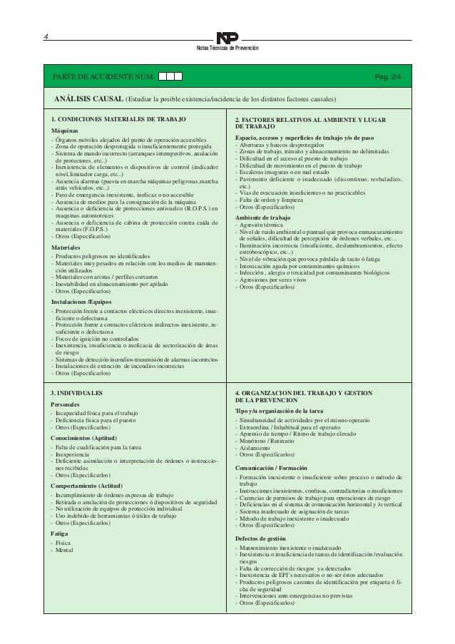4  Notas Técnicas de Prevención  PARTE DE ACCIDENTE NÚM. Pag. 2/4  ANÁLISIS CAUSAL (Estudiar la posible existencia/inciden...