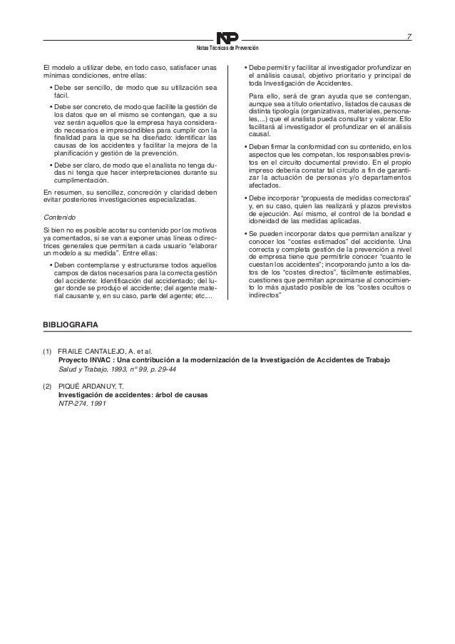 7  Notas Técnicas de Prevención  El modelo a utilizar debe, en todo caso, satisfacer unas  mínimas condiciones, entre ella...