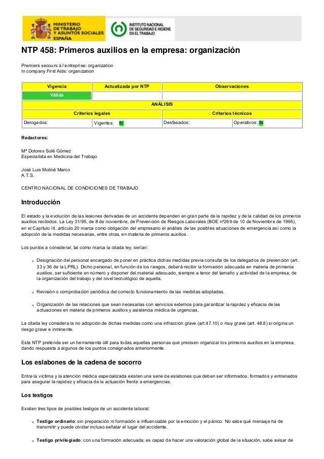 NTP 458: Primeros auxilios en la empresa: organizaciónPremiers secours à l'entreprise: organizationIn company First Aids: ...