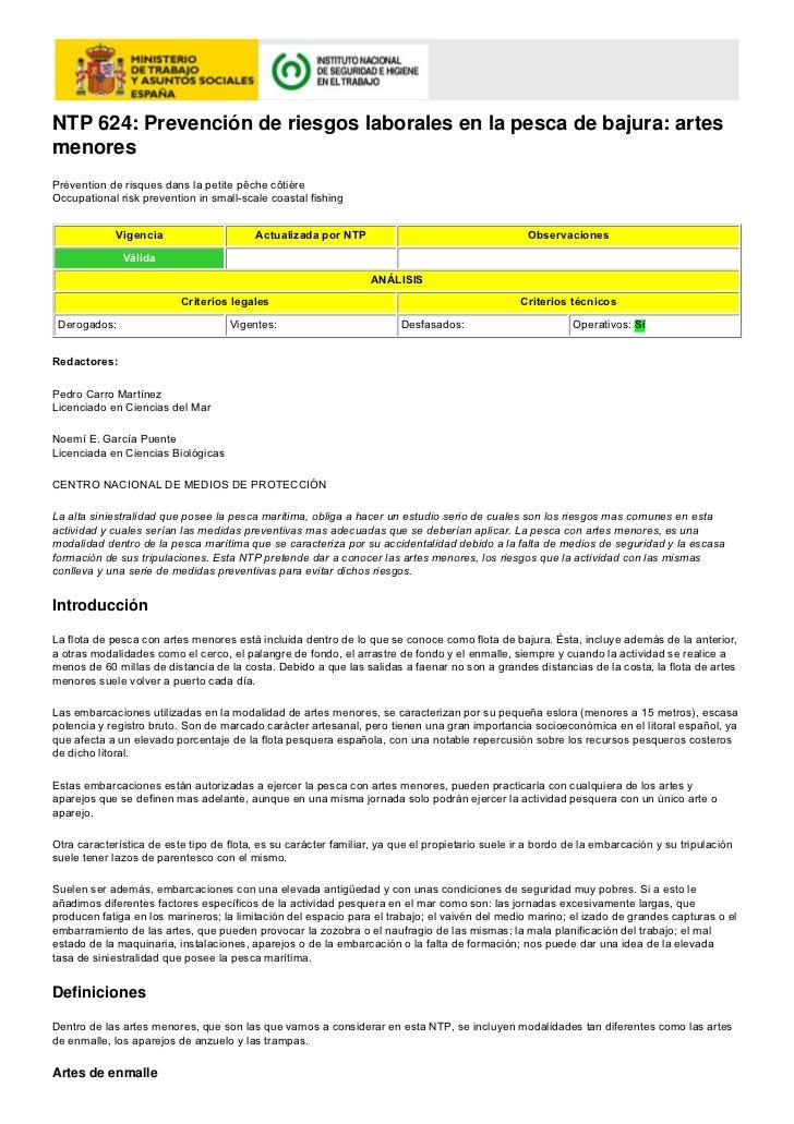 NTP 624: Prevención de riesgos laborales en la pesca de bajura: artesmenoresPrévention de risques dans la petite pêche côt...