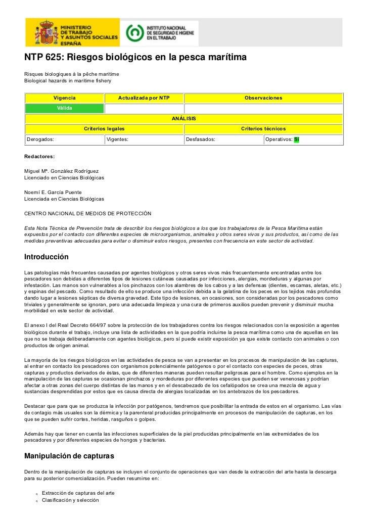 NTP 625: Riesgos biológicos en la pesca marítimaRisques biologiques á la pêche maritimeBiological hazards in maritime fish...