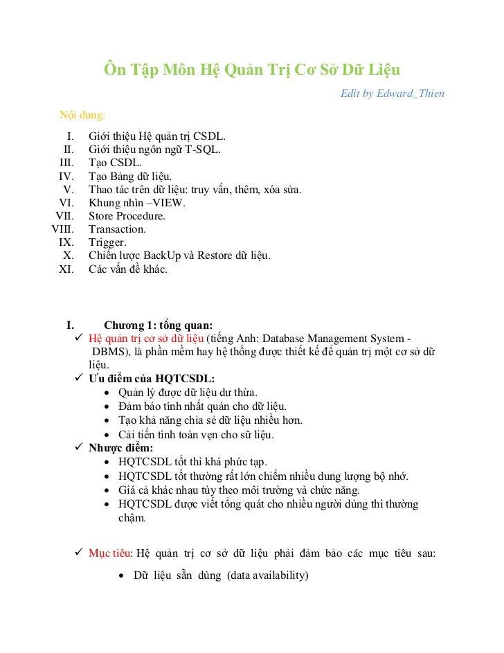 Ôn Tập Môn Hệ Quản Trị Cơ Sở Dữ Liệu                                                          Edit by Edward_Thien Nội dun...