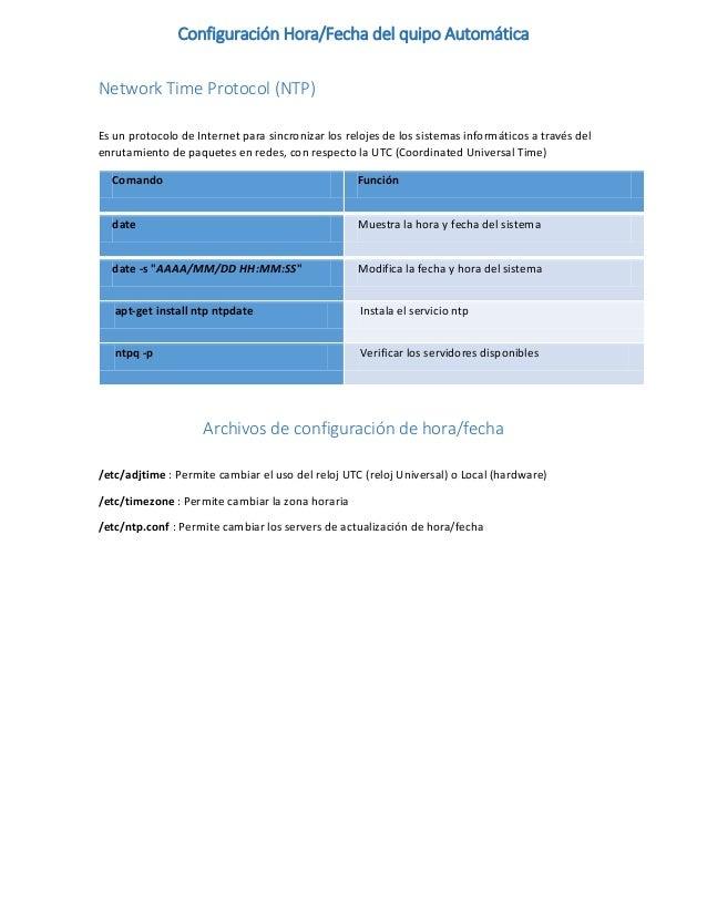 Configuración Hora/Fecha del quipo Automática Network Time Protocol (NTP) Es un protocolo de Internet para sincronizar los...
