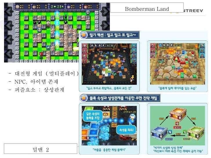 <ul><li>대전형 게임  ( 멀티플레이 ) </li></ul><ul><li>NPC,  아이템 존재 </li></ul><ul><li>퍼즐요소  :  상성관계 </li></ul>Bomberman Land 밀맨  2