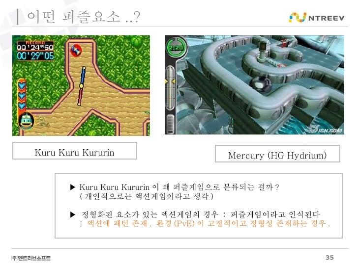 Kuru Kuru Kururin ▶  Kuru Kuru Kururin 이 왜 퍼즐게임으로 분류되는 걸까 ? ( 개인적으로는 액션게임이라고 생각 ) ▶  정형화된 요소가 있는 액션게임의 경우  :  퍼즐게임이라고 인식된다...