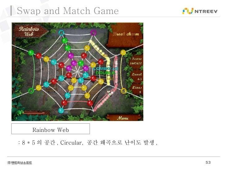 Rainbow Web Swap and Match Game : 8 * 5 의 공간 , Circular,  공간 왜곡으로 난이도 발생 ,