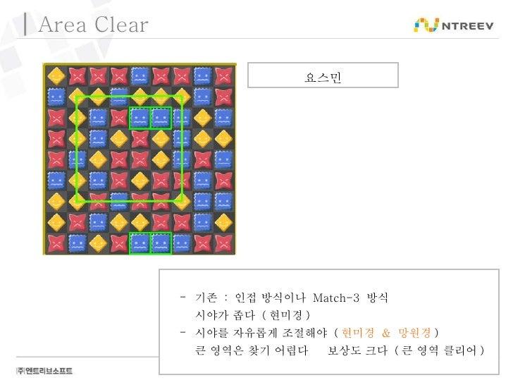Area Clear 요스민 <ul><li>기존  :  인접 방식이나  Match-3  방식 </li></ul><ul><li>시야가 좁다  ( 현미경 ) </li></ul><ul><li>시야를 자유롭게 조절해야  ( 현미...