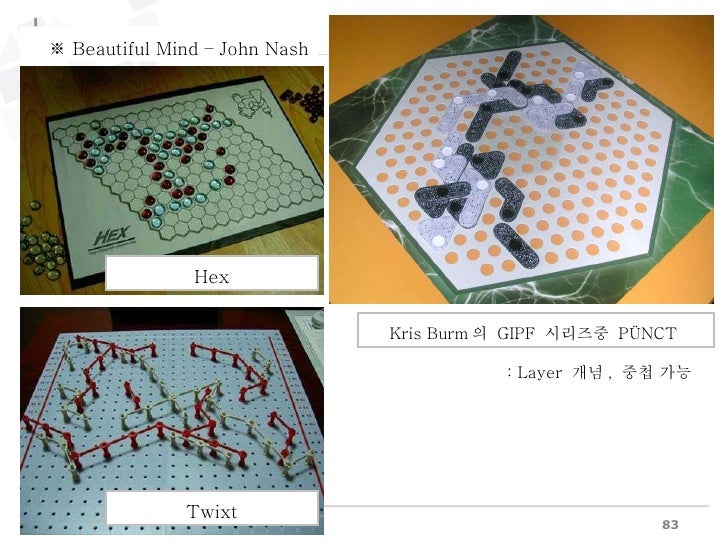 : Layer  개념 ,  중첩 가능 Hex Twixt Kris Burm 의  GIPF  시리즈중  PÜNCT  ※  Beautiful Mind – John Nash