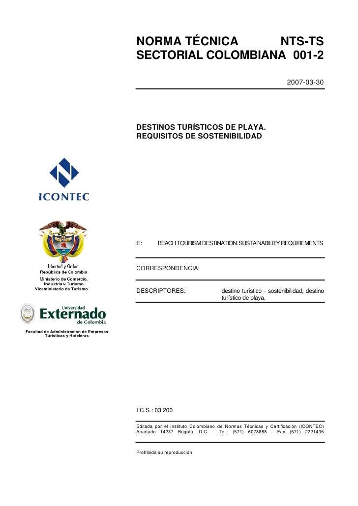 NORMA TÉCNICA      NTS-TS                                         SECTORIAL COLOMBIANA 001-2                              ...
