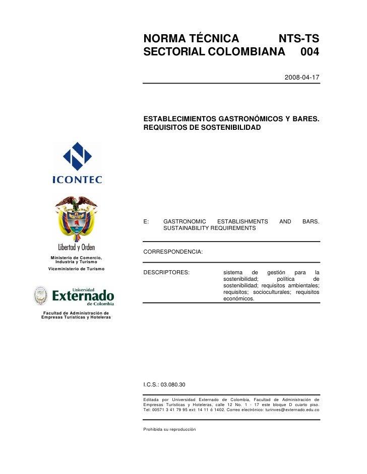 NORMA TÉCNICA      NTS-TS                                  SECTORIAL COLOMBIANA 004                                       ...