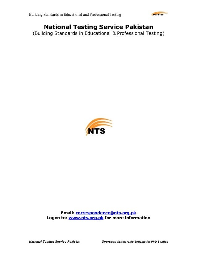 Building Standards in Educational and Professional TestingNational Testing Service Pakistan Overseas Scholarship Scheme fo...