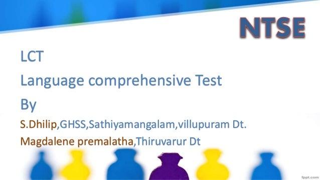 LCT Language comprehensive Test By S.Dhilip,GHSS,Sathiyamangalam,villupuram Dt. Magdalene premalatha,Thiruvarur Dt