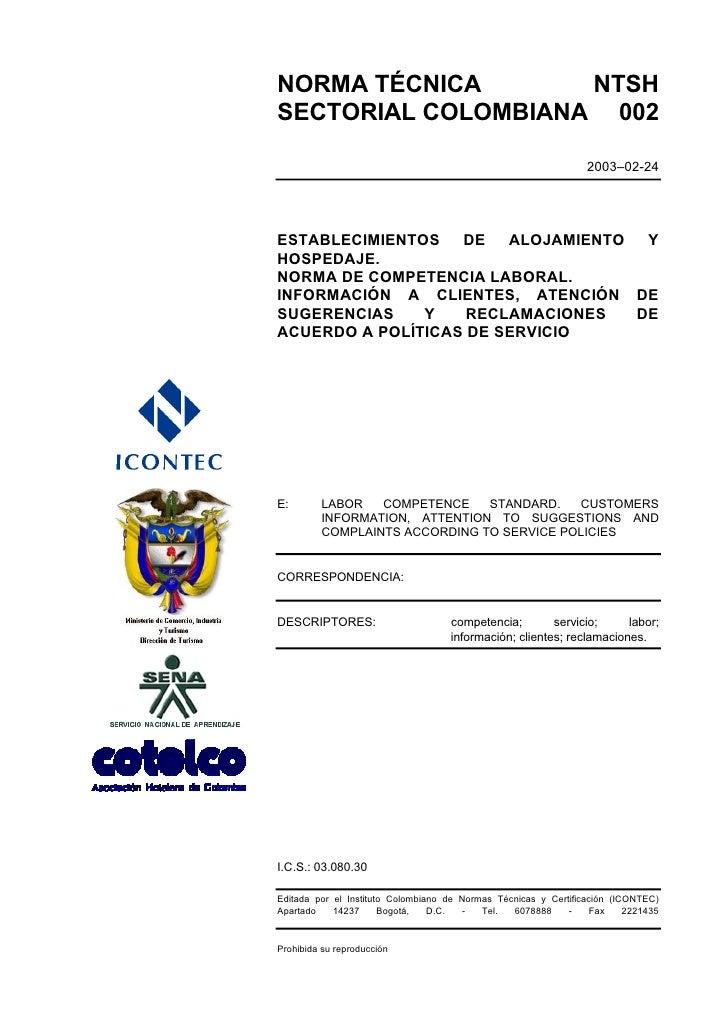 NORMA TÉCNICA       NTSH SECTORIAL COLOMBIANA 002                                                                   2003–0...