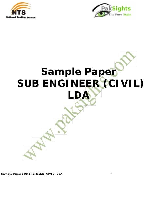 NTS Job Test Sample Paper Sub Engineer Civil LDA