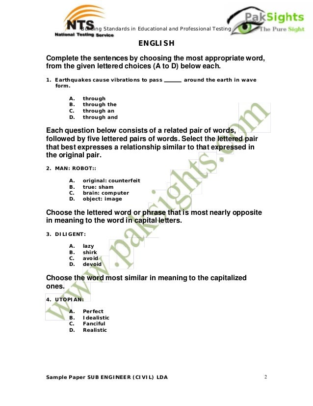 Nts Job Test Sample Paper Sub Engineer Civil Lda