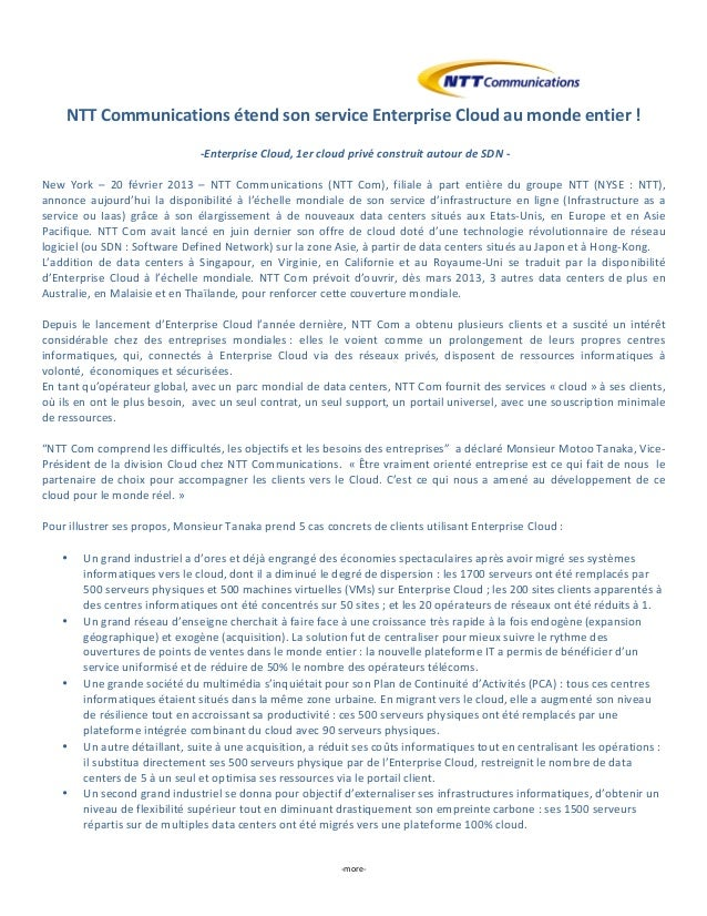 NTT	  Communications	  étend	  son	  service	  Enterprise	  Cloud	  au	  monde	  entier	  !	                              ...