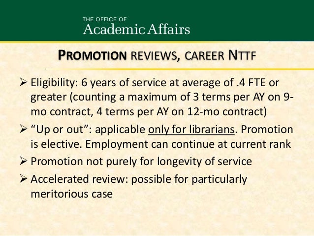 Career NTTF Evaluation and Promotion Processes