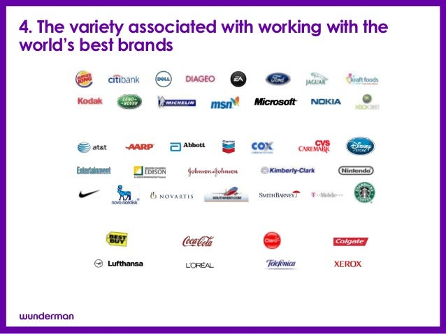 4. The variety associated with working with theworld's best brands