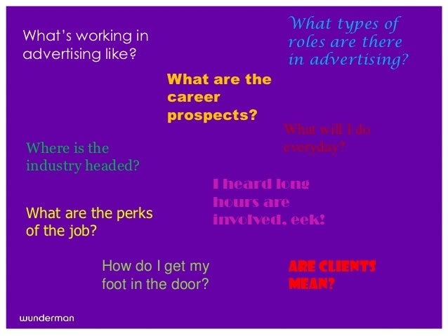 """What types ofWhat""""s working in                      roles are thereadvertising like?                      in advertising? ..."""
