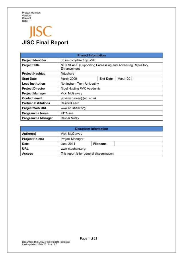 Project Identifier:Version:Contact:Date:JISC Final ReportProject InformationProject Identifier To be completed by JISCProj...