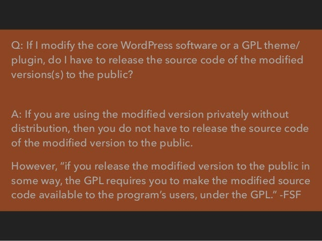 Q: Can I sell the core WordPress software? A: Yes. Doing so is consistent with the freedoms in the GPL. However, trying to...