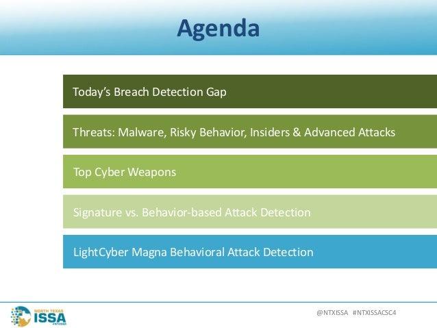 @NTXISSA#NTXISSACSC4 Agenda Today'sBreachDetectionGap Threats:Malware,RiskyBehavior,Insiders&AdvancedAttacks ...