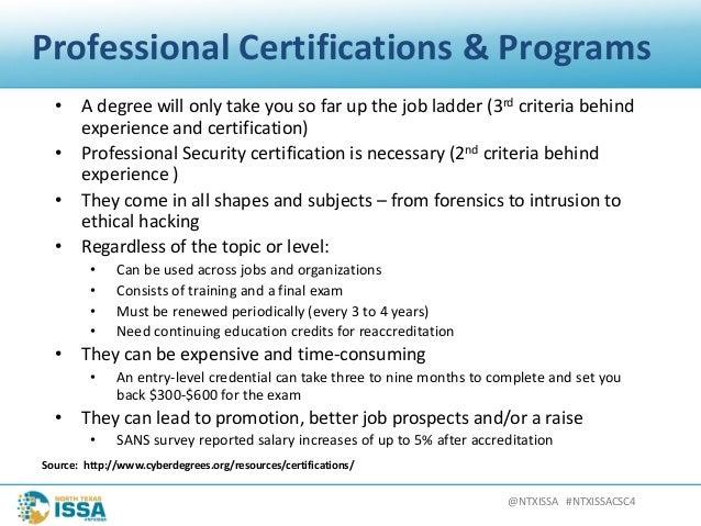 @NTXISSA#NTXISSACSC4 ProfessionalCertifications&Programs • Adegreewillonlytakeyousofarupthejobladder(3rd...