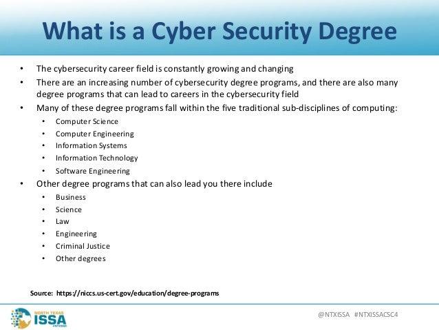 @NTXISSA#NTXISSACSC4 WhatisaCyberSecurityDegree • Thecybersecuritycareerfieldisconstantlygrowingandchangin...