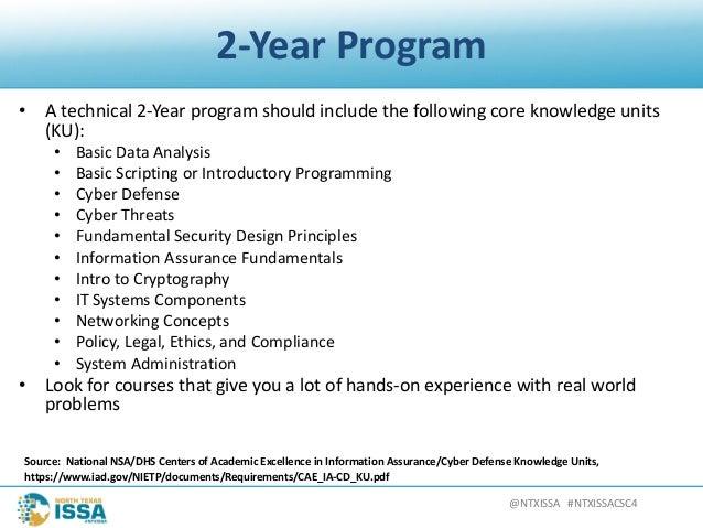 @NTXISSA#NTXISSACSC4 2-YearProgram • Atechnical2-Yearprogramshouldincludethefollowingcoreknowledgeunits (KU...