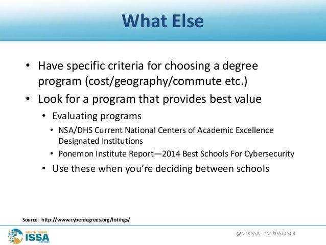 @NTXISSA#NTXISSACSC4 WhatElse • Havespecificcriteriaforchoosingadegree program(cost/geography/commuteetc.) • ...