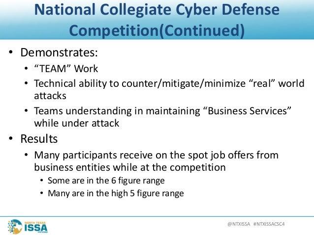 "@NTXISSA#NTXISSACSC4 NationalCollegiateCyberDefense Competition(Continued) • Demonstrates: • ""TEAM""Work • Technica..."