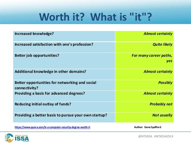 """@NTXISSA#NTXISSACSC4 Worthit? Whatis""""it""""? Increasedknowledge? Almostcertainly Increasedsatisfactionwithone'spr..."""