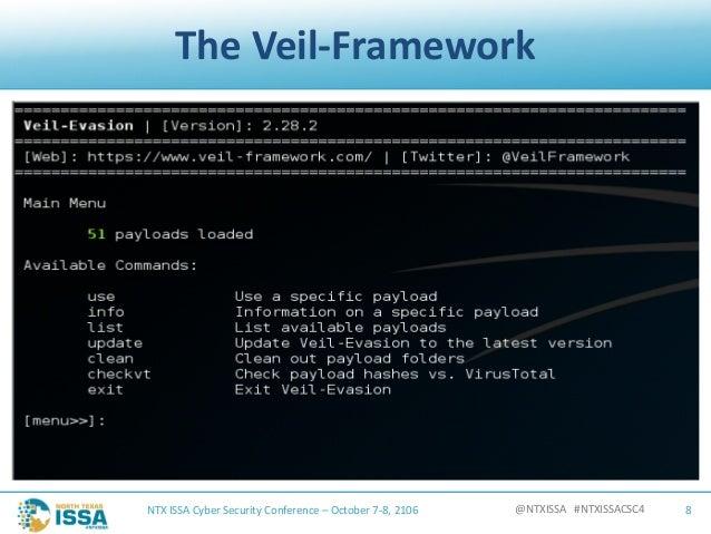 @NTXISSA#NTXISSACSC4 TheVeil-Framework NTXISSACyberSecurityConference– October7-8,2106 8